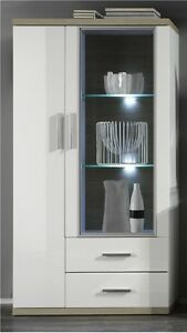 vitrine vitrinenschrank wei hochglanz sonoma eiche highboard beleuchtung arena ebay. Black Bedroom Furniture Sets. Home Design Ideas