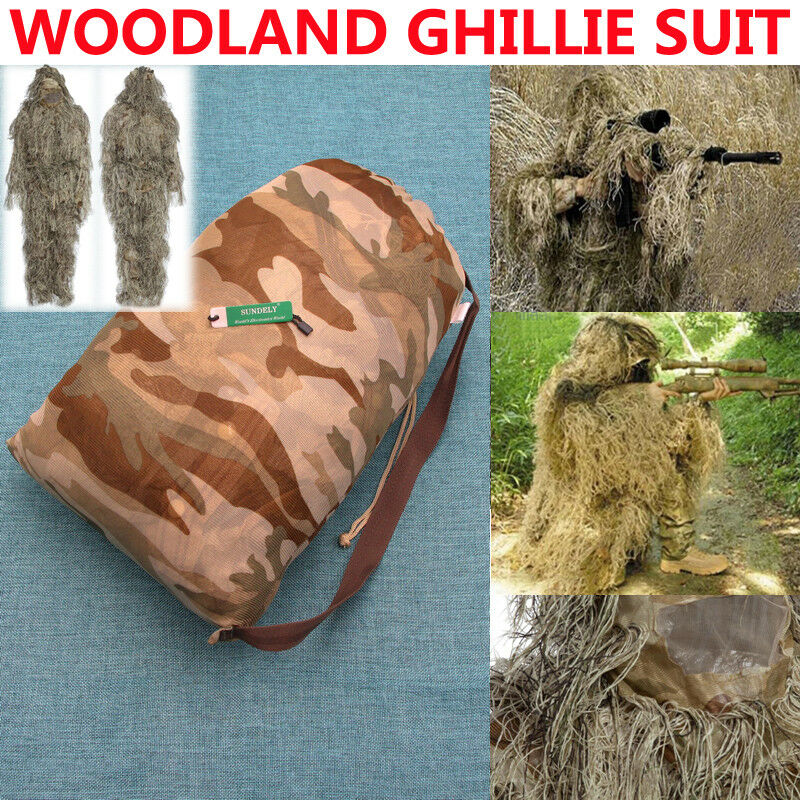 New Desert Ghillie Suit 5pcs Woodland Camouflage Hunting Archery Sniper Clothing
