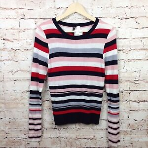 ae297e1881 Details about H   M Divided Large NWT Ribbed Striped Sweater Women s Long  Sleeve Shirt Blouse