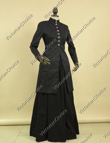 VictorianInspiredWomensClothing Victorian Edwardian Frock Coat Dress Theater Women Witch Punk Costume BLACK C035 $195.00 AT vintagedancer.com
