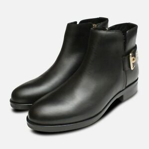 Tessa Gold Buckle Ankle Boots in Black