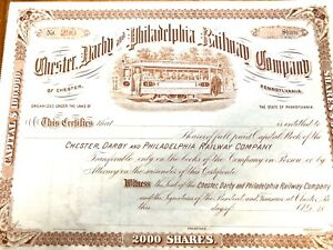 Vintage Share Certificate Chester Darby Philadelphia Railway Co Ephemera History