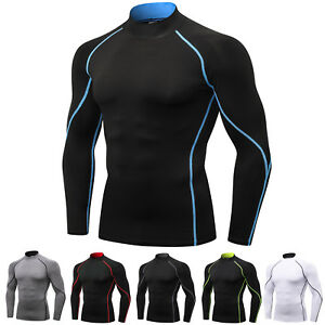 Men-039-s-Pro-Performance-Compression-Shirt-Long-Sleeve-Base-Layer-Thermal-Top-Mock