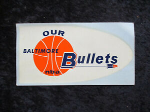 Vintage 1960's Baltimore Bullets NBA Logo Decal UNUSED EXMT