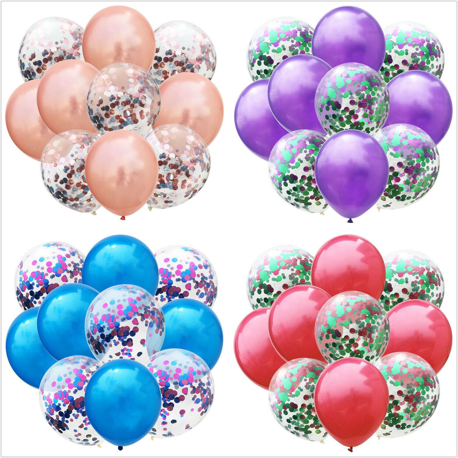 10x Luftballons Set Silber Konfetti Metallic Geburtstag Ballons Party Hochzeit