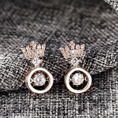 18K White Gold Rose Gold Filled Lab Diamond Exquisite Crown Stud Earrings