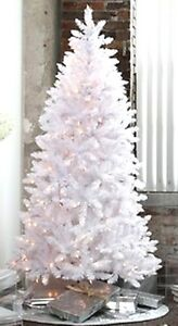 Pre-Lit 6.5' WHITE Artificial Christmas Tree - Clear ...