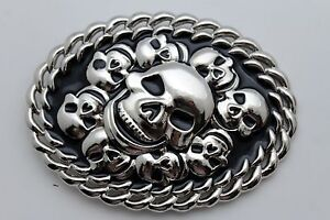Men-Women-Silver-Metal-Belt-Buckle-Fashion-3D-Skeleton-Skulls-Halloween-Black
