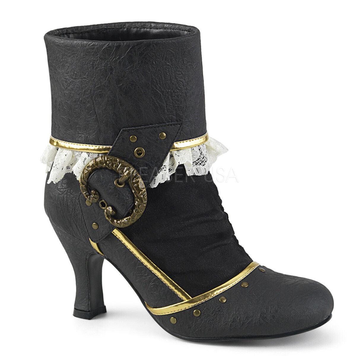 Braun Gold Victorian Steampunk Ivory Lace Womans Costume 8 Heels Schuhes 6 7 8 Costume 9 10 b52d56