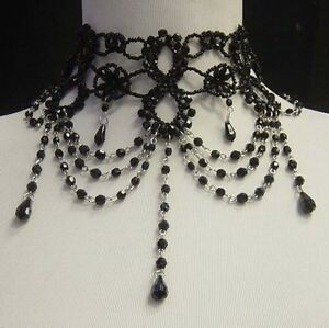 Black Victorian Fringe Choker Necklace Earrings Beaded Burlesque Costume Set