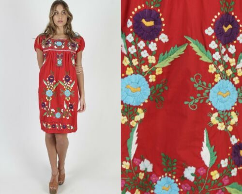Vtg Mexican Puebla Dress Traditional Bright Floral