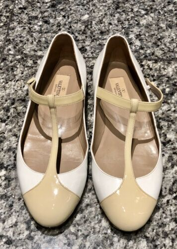 VALENTINO Patent Leather T-Strap Flat Shoes