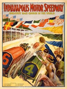 1909 Indianapolis 500 Motor Speedway Classic Old Race Course Poster - 24x32