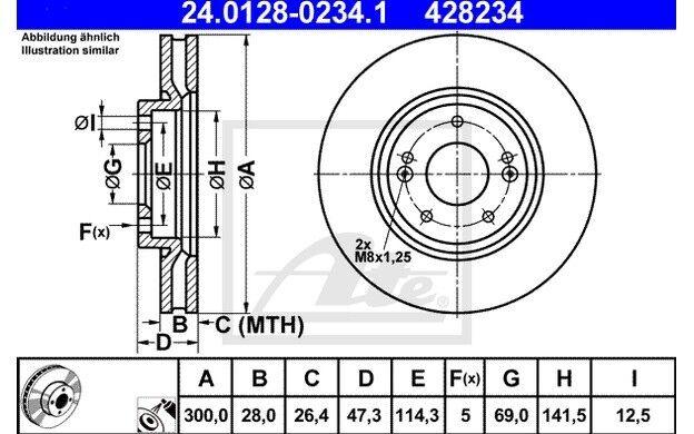 ATE Juego de 2 discos freno 300mm ventilado para VW POLO BMW 24.0128-0234.1