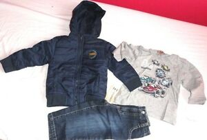 NUEVO-3-Piezas-Set-24-meses-ninos-Head-Quarters-Acolchado-Jacket-Jeans-Azul-Top