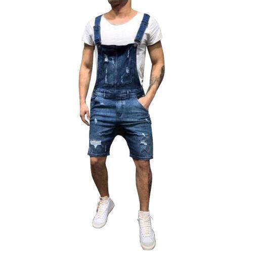 Herren Denim Overall Latzhose Knielange Ripped Shorts Jumpsuit kurz Trägerhose