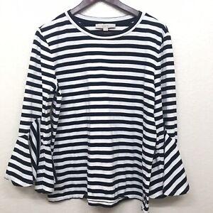 LOFT-Women-s-Striped-Bell-Sleeve-Top-Size-Medium-Blue-White