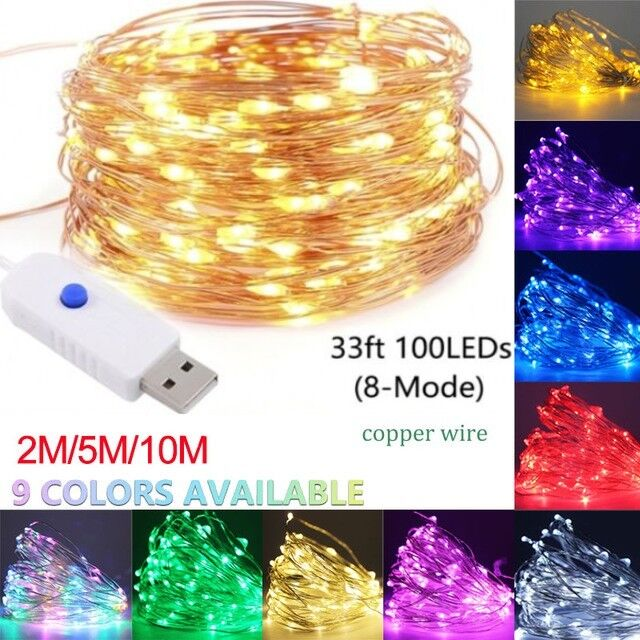 50/100 LED String Kupferdraht Lichterkette USB Xmas Party Fairy Decor Lamp DIY Q