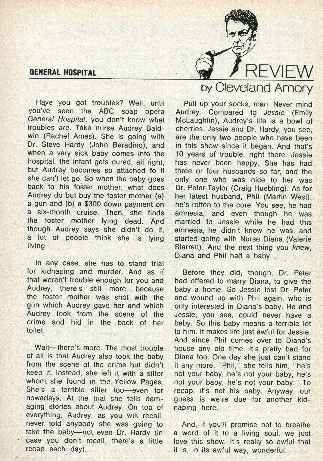 Image 1 - 1972 TV GUIDE ARTICLE~GENERAL HOSPITAL SOAP OPERA REVIEW~Rachel Ames