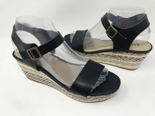 Women/'s Basic Editions 52193 Wallie Platform Sandals Black//Tribal Q15 New