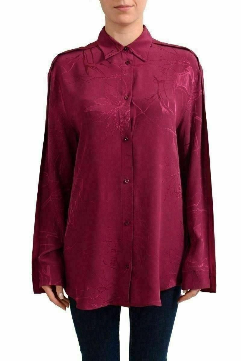 Maison Margirla 1 100% Silk Burgundy Woherren Button Down Shirt US M IT 42