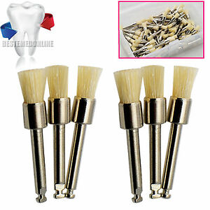 100 Pcs Dental Prophy Brush White Bristle Latch Flat Type Polishing Brush top CE