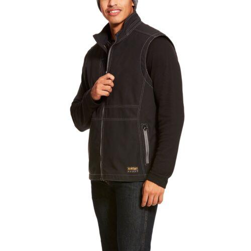 Ariat® Men/'s Rebar Stretch Canvas Softshell Black Work Vest 10020780