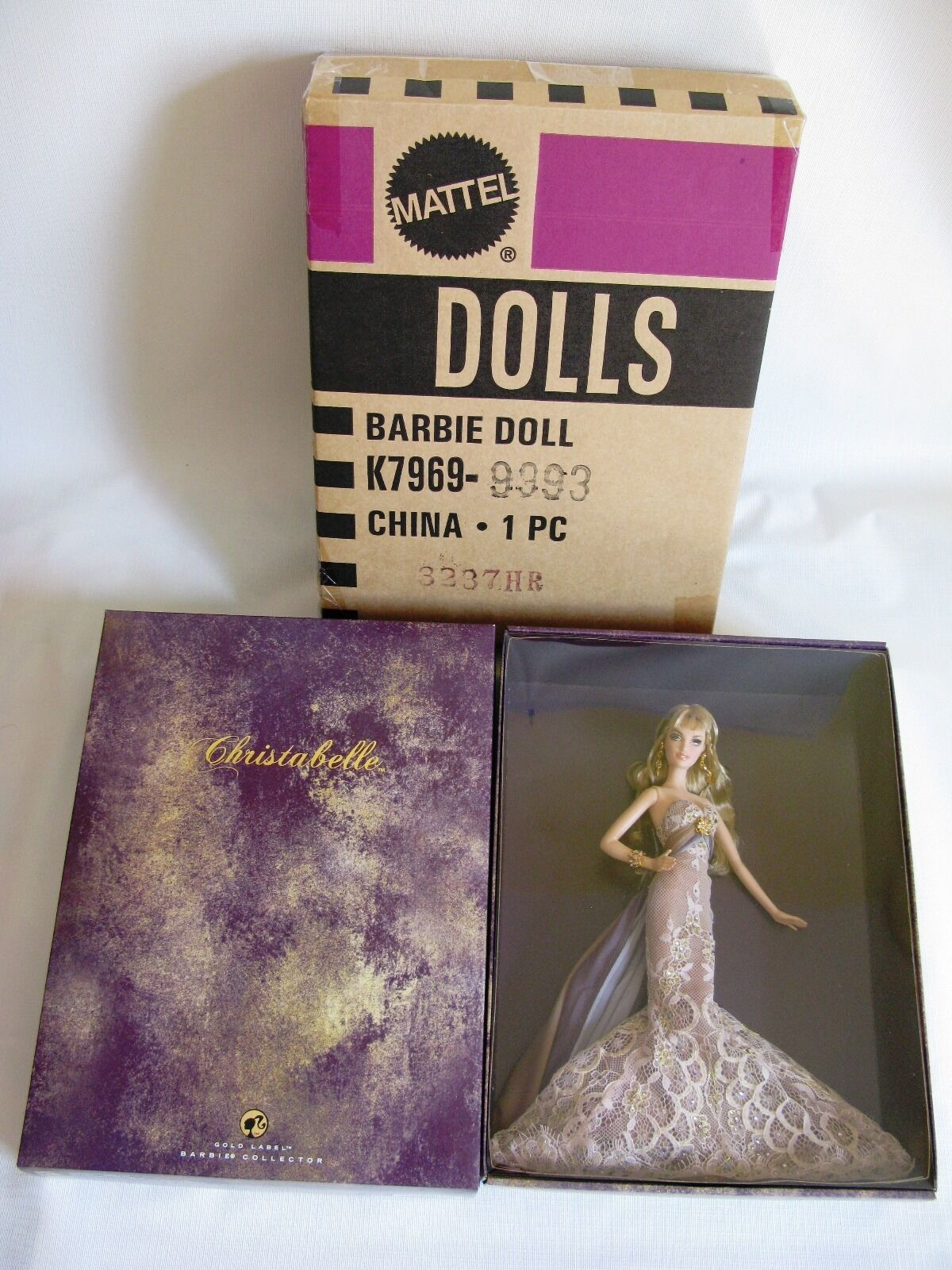 Muñeca Barbie Christabelle etiqueta dorada con caja de remitente 2007 Nuevo