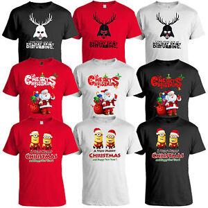5ab50a2d6b Mens Christmas T Shirt Xmas MINIONS DARTH VADER Santa Claus Print ...