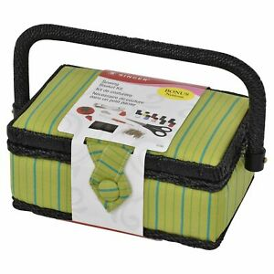 SINGER Pin Stripes Sewing Basket with Notions Green | eBay