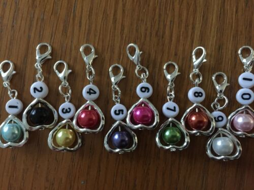 10 X KNITTING CROCHET Stitch markers coloured pearl bead