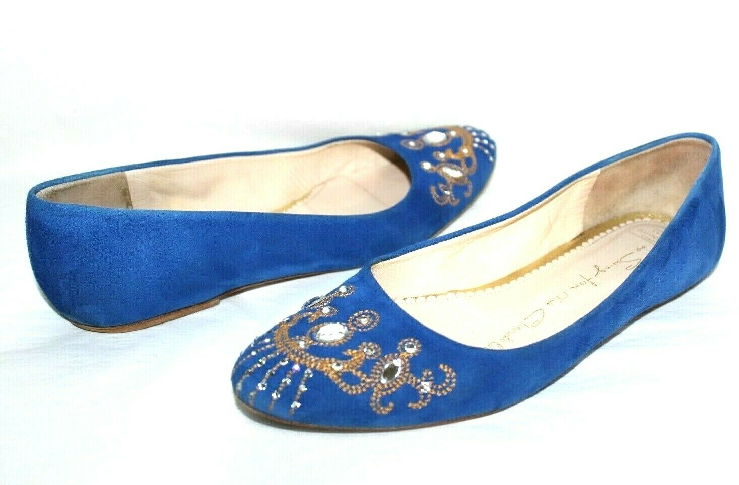 ❤️ Lulu Guinness Swing de La Lustre Bijou Daim Bleu Plat 37 Espagne L @@ K26