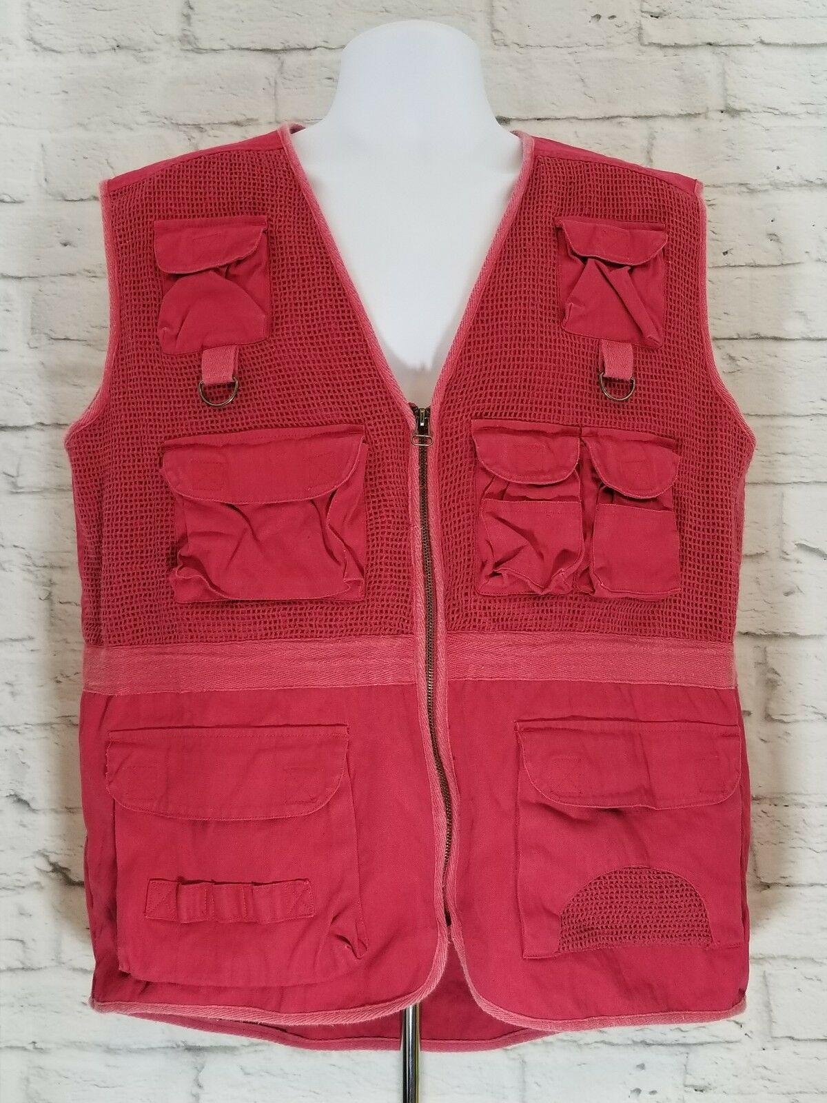 Bugle Boy Mens Fishing Vest Size Large Red Hunting Photography Hiking Camping