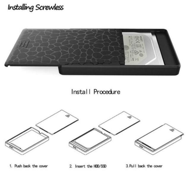 "2.5"" SATA USB 3.0 External Enclosure Case For SSD HDD Hard Drive Disk Black"