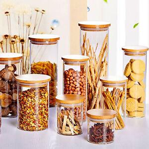 Vorratsdosen mit Bambusdeckel Vorratsglas Set 550-1700ML Vorratsglaeser 8 Größen