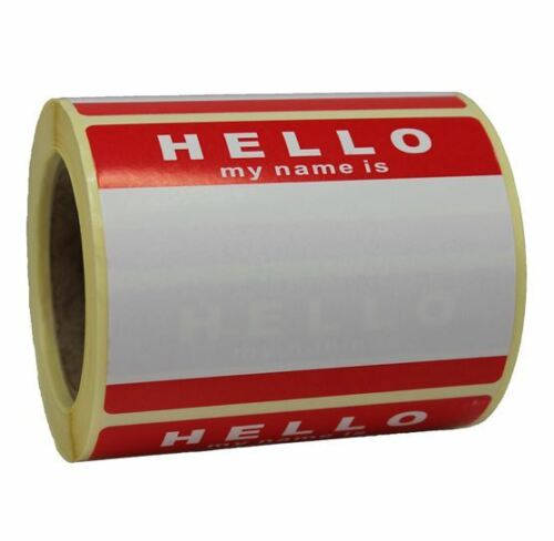 NO LOGO ROLL OF 250 HELLO MY NAME IS STICKERS WHITE RED