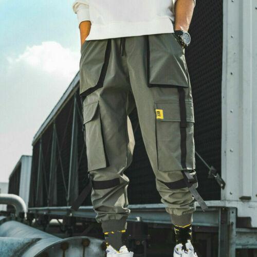 Herren Cargo Haremshose Viele Taschen Hosen Japanisch Schleife Retro Lässig