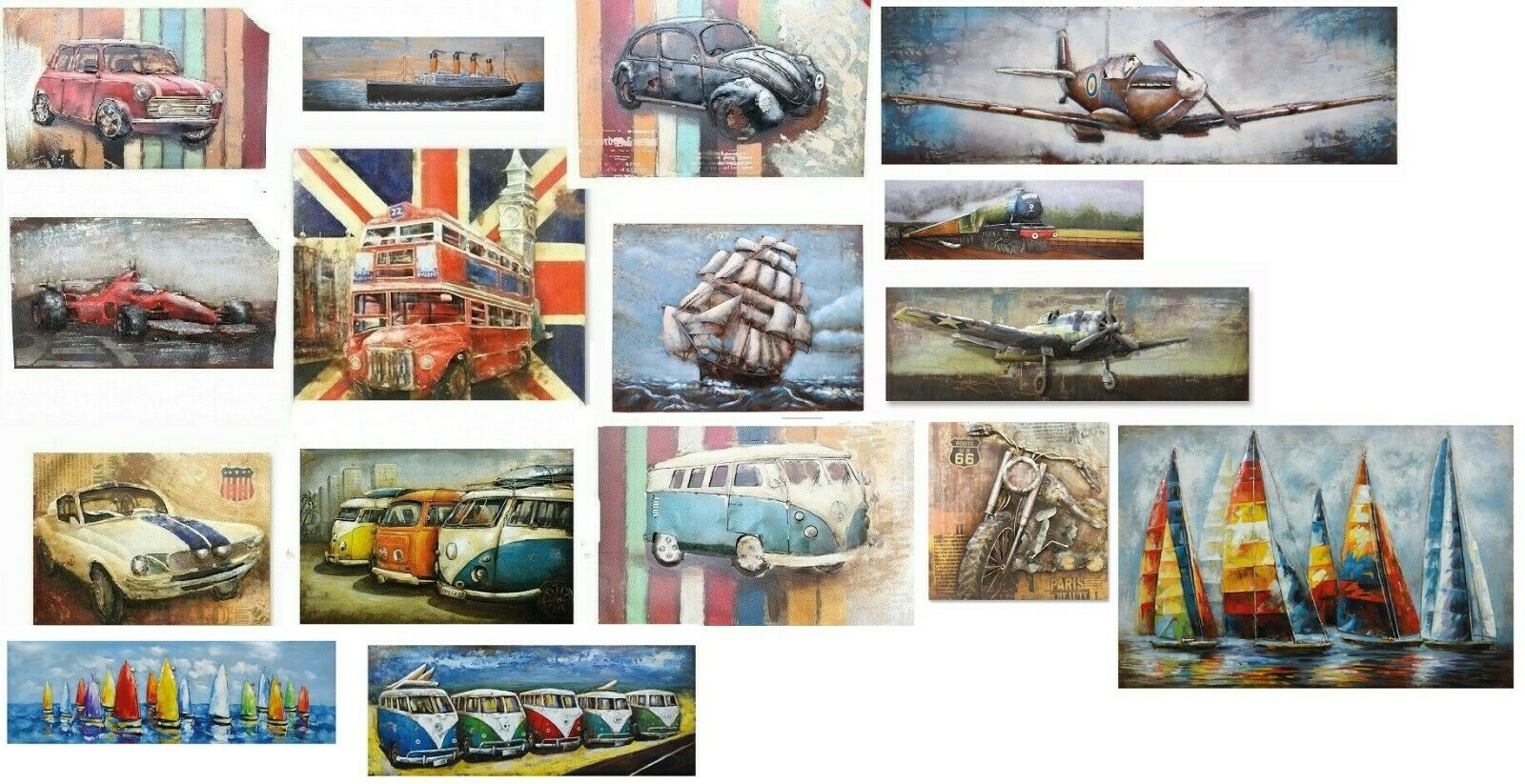 3D Iron Sculpturot Wall Art   Picture Painting Transport Train Boat Plane Sail