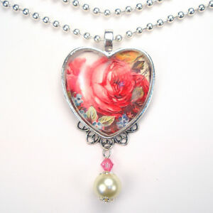 Pink rose heart necklace forget me not pendant vintage charm graphic image is loading pink rose heart necklace forget me not pendant aloadofball Gallery