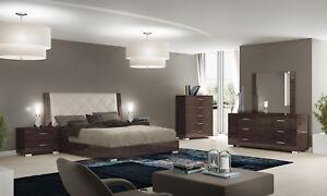 Details zu Schlafzimmer-Set Komplett 6-tl. Eiche-Braun Hochglanz Moderne  Italienische Möbel