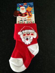 BNWT Baby Boys or Girls Age 0 to 6 Months Christmas Fuzzy Reindeer Logo Socks