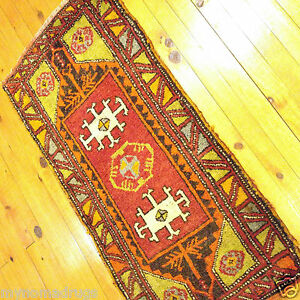 Antiques Obedient Antique 1920-1930s Multi-colored Turkish Tribal 1'8''x3'5'' Wool Pile Rug