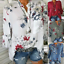 Women-039-s-Long-Sleeve-Casual-V-Neck-Tops-Blouse-Summer-Loose-Floral-Tee-T-Shirt thumbnail 4