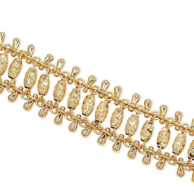 "Gold Filled 18k Chain Link Sexy Fashion Mesh Wide Bracelet Fashion Lady 7"""