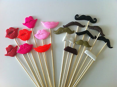 18PCS Photo Booth Props For Party POLYMER CLAY Moustaches and Lips on a stick