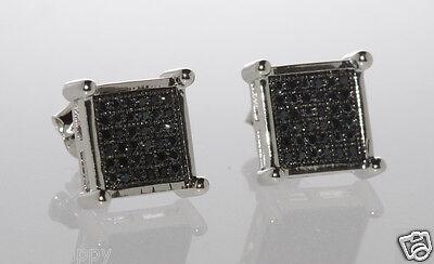 Mens Sterling Silver Black CZ stud earrings Square Shape 10mm Cubic Zirconia
