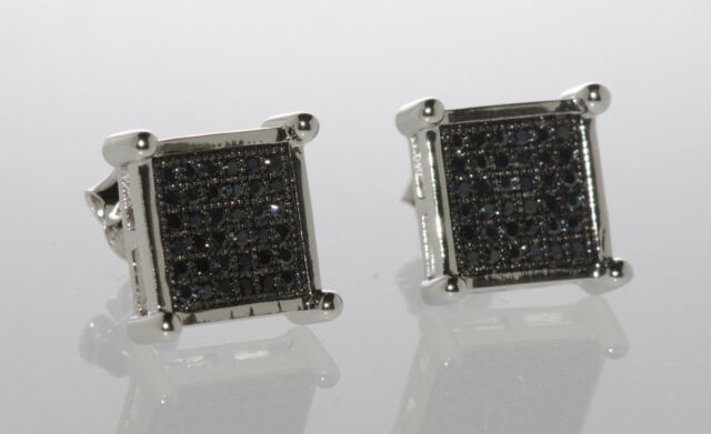 Mens Sterling Silver Black CZ stud earrings Square Shape 10mm Cubic Zirconia