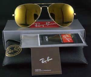 ray ban gold mirrored aviator sunglasses  image is loading ray ban sunglasses aviator rb 3025 w3276 58mm