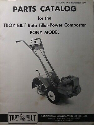 Troy Bilt Pony Roto Tiller Compost Tractor Parts Catalog Manual Garden Way 1977 Ebay