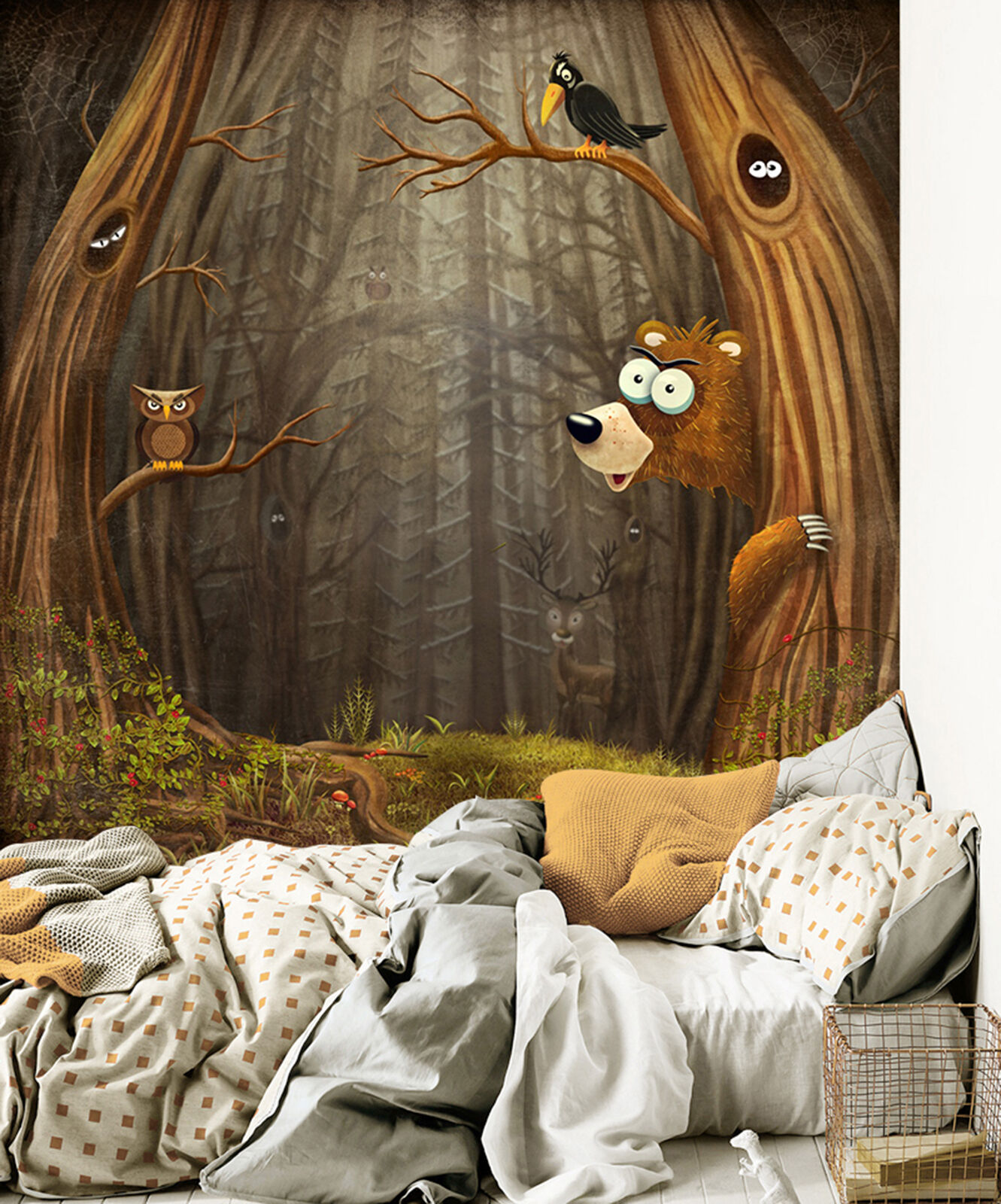 3D forest owl crow Wall Paper Print Decal Wall Deco Indoor wall Mural